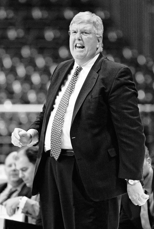 Utah State head coach Stew Morrill react during their game against  Louisiana Tech during their NCAA college basketball game in the Western Athletic Conference tournament Thursday, March 8, 2012, at The Orleans Arena in Las Vegas. Louisiana Tech defeated Utah State 72-70. (AP Photo/Eric Jamison)