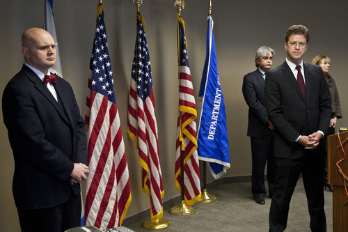 Chris Detrick  |  The Salt Lake Tribune (L-R) Assistant United States Attorney Jared Bennett, U.S. Attorney for Utah David Barlow, Assistant United States Attorneys Stewart Walz and Karin Fojtik listen during a press conference  Friday March 9, 2012. Federal officials on Friday announced they have charged a mining company $500,000 for two criminal violations in the wake of the deadly 2007 Crandall Canyon mine disaster in Utah.