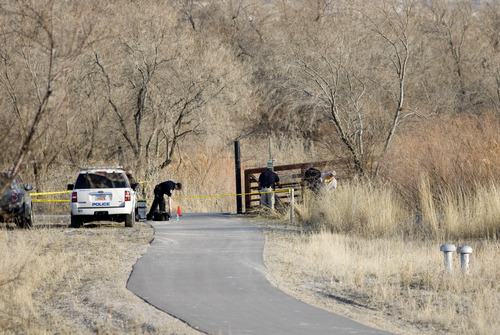 Kim Raff | The Salt Lake Tribune  Police investigate blood found in connection with a body found in the Jordan River off of the Jordan River Parkway on 12300 south in Draper, Utah on March 11, 2012.