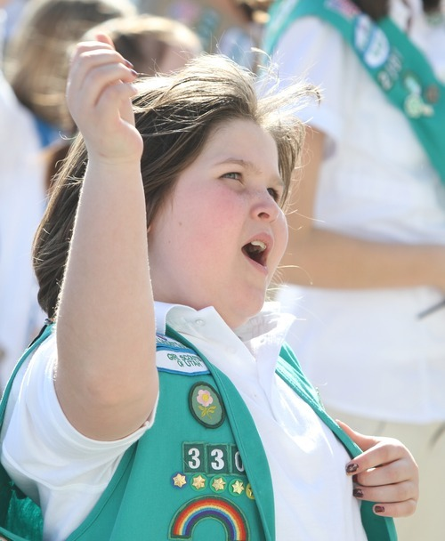Rick Egan  | The Salt Lake Tribune   Savana Wallace, Layton, joins more than 1,500 Girl Scouts, at the Capitol to celebrate the Girl Scouts' history by singing songs, performing a