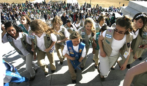 Rick Egan  | The Salt Lake Tribune   More than 1,500 Girl Scouts, their families, friends, showed up at the Capitol to celebrate the Girl Scouts' history by singing songs, performing a