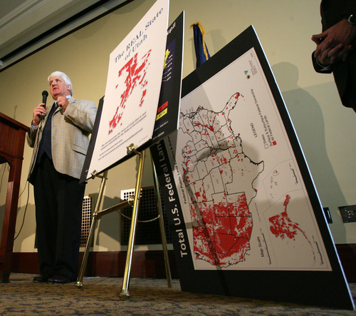 Steve Griffin     The Salt Lake Tribune  Rep. Rob Bishop, R-Utah, stands with a map showing a majority of the land owned by the federal government is in the Western states during a news conference to laud the Legislature for its effort to take state control of millions of acres of federal lands.