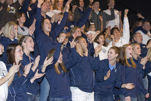 Paul Fraughton | The Salt Lake Tribune. BYU's women's basketball team reacts to the announcement that they were selected as a number 10 seed to play  DePaul in the Des Moines Region of the NCAA Basketball Tournament.   Monday, March 12, 2012