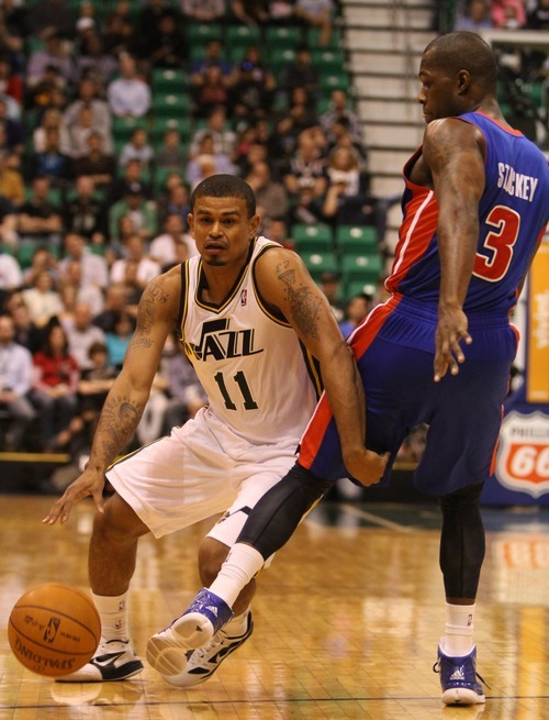 Rick Egan  | The Salt Lake Tribune   Detroit Pistons point guard Rodney Stuckey (3) defends as Utah Jazz point guard Earl Watson (11) drives with the ball, in NBA action,  Jazz vs. Detroit game, Monday, March 12, 2012.
