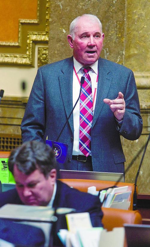 Al Hartmann   |  The Salt Lake Tribune  Representative Bill Wright speaks on House Bill 116, the  Guest Worker Program Act on the house floor Wednesday February 23.
