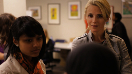 |  courtesy photo Director Jennifer Siebel Newsom, right, talks to students during filming of her documentary