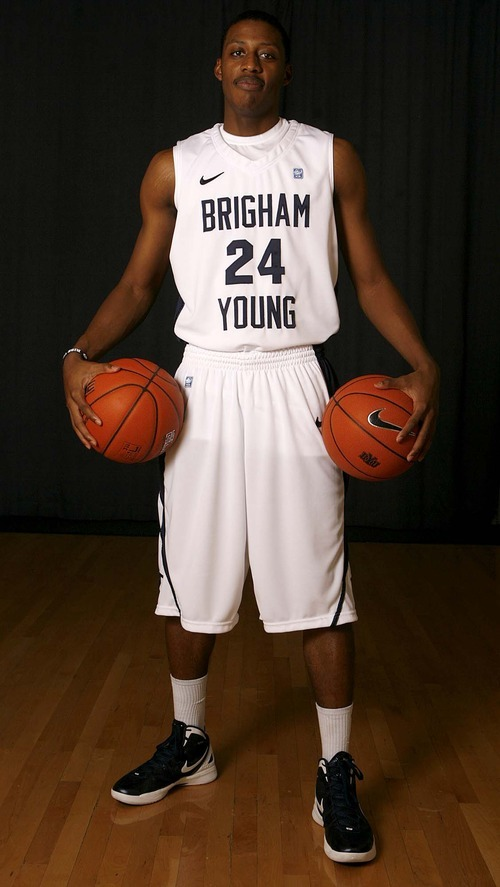 Trent Nelson  |  The Salt Lake Tribune BYU guard Damarcus Harrison at BYU basketball's team photo day at the Marriott Center in Provo, Utah, Wednesday, October 12, 2011.