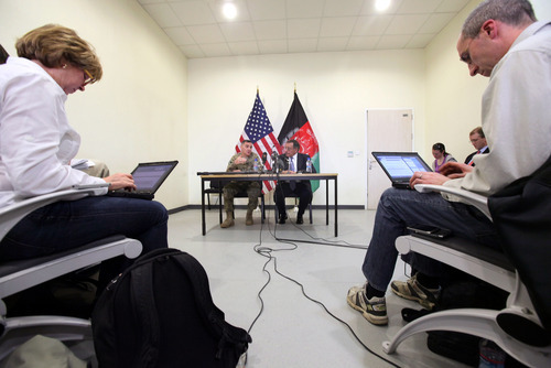 Lt. Gen. Curtis Scaparrotti, commander of ISAF Joint Command, left, and Defense Secretary Leon Panetta take part in a news conference in Kabul, Afghanistan, Thursday, March 15, 2012, prior toPanettas departure for the United Arab Emirates.  (AP Photo/Scott Olson, Pool)