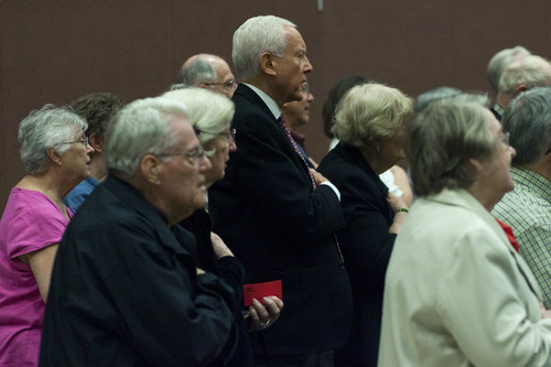 Chris Detrick  |  The Salt Lake Tribune U.S. Sen. Orrin Hatch says the Pledge of Allegiance during the Republican caucus at Washington Elementary School on Thursday.