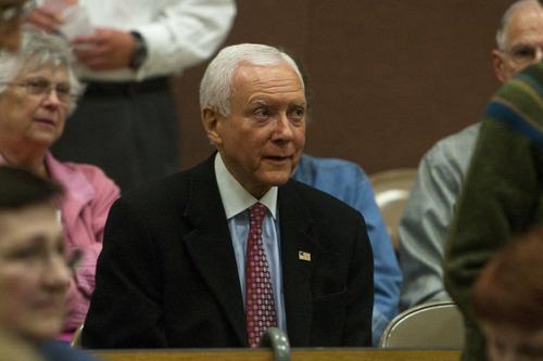 Chris Detrick  |  The Salt Lake Tribune U.S. Sen. Orrin Hatch attends the Republican caucuses at Washington Elementary School on Thursday.