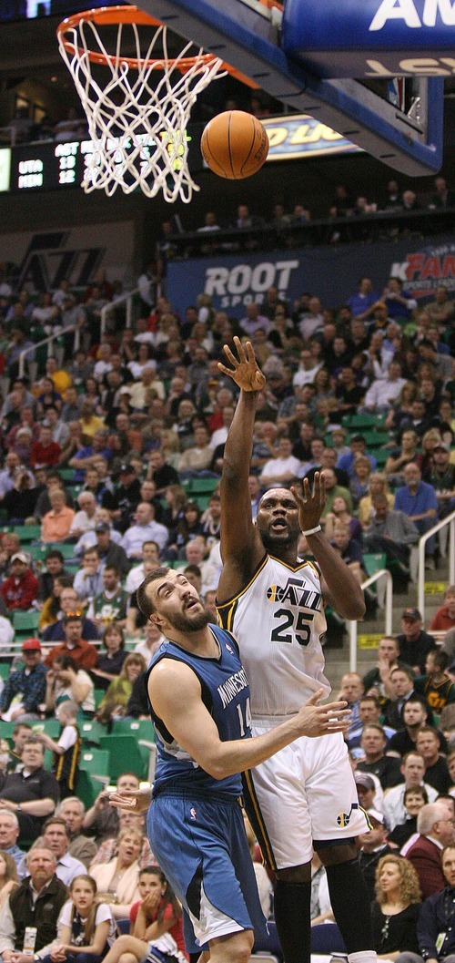 Paul Fraughton   The Salt Lake Tribune. Al Jefferson faces up against Minnesota's Nikola Pekovic and shoots the basketball. The Utah Jazz played the Minnesota Timberwolves at Energy Solutions Arena.  Thursday, March 15, 2012