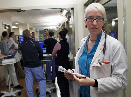 Al Hartmann  |  The Salt Lake Tribune Kimberly Butler spent her last week of medical school on rounds in University Hospital's neurology department. She is among a growing number of students going into family medicine.