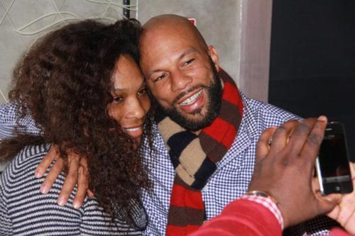 Tennis star Serena Williams hugs rapper Common on March 16, 2012, at nightclub One in Salt Lake City. It was Common's 40th birthday party. Photo courtesy Konstantine Deslis.