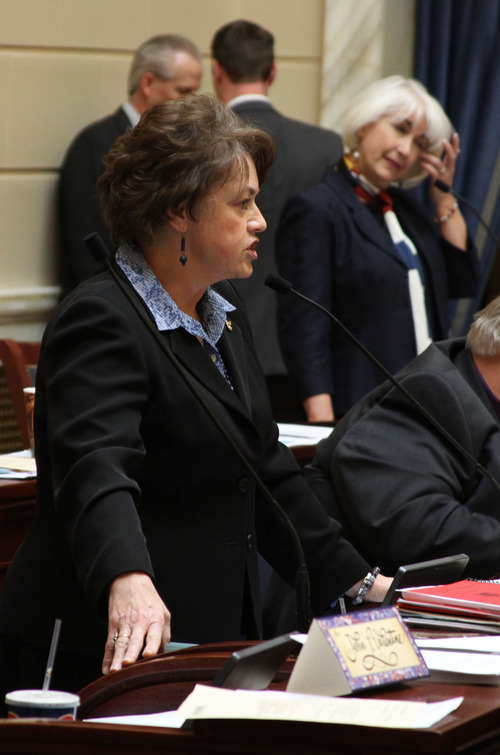 Francisco Kjolseth  |  The Salt Lake Tribune Sen. Margaret Dayton, R-Orem, refuses to yield to a question from Sen. Pat Jones, D-Holladay, at right, as they discuss HB363 in the Senate on Tuesday. The bill won final passage on a 19-10 vote and now heads to Gov. Gary Herbert.