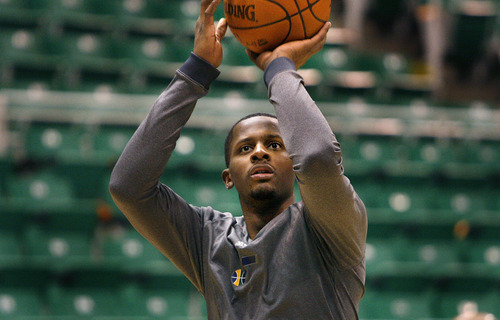 Scott Sommerdorf  |  The Salt Lake Tribune              C.J. Miles, expected to get his first start of the year shoots as the Utah Jazz shoot around prior to their game with the Golden State Warriors at energy Solutions Arena, Saturday, March 17, 2012.
