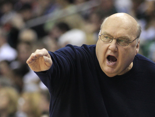 Saint Louis head coach Rick Majerus reacts during the first half of an NCAA men's college basketball tournament third-round game against Michigan State in Columbus, Ohio, Sunday, March 18, 2012. (AP Photo/Tony Dejak)