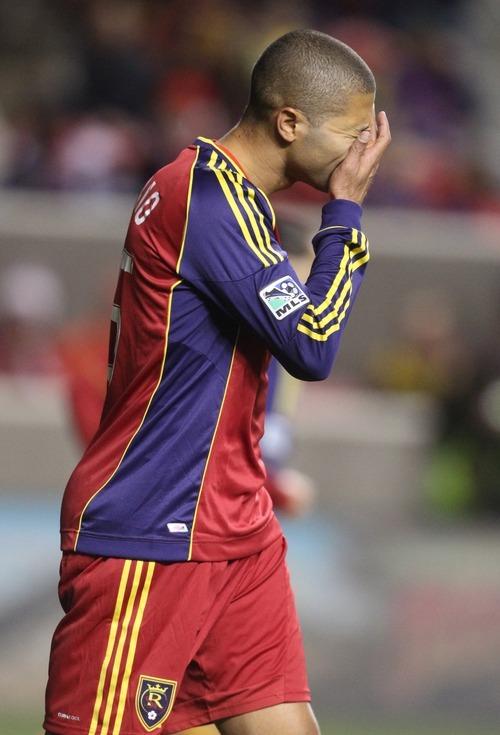 Rick Egan  | The Salt Lake Tribune   Real Salt Lake's Alvaro Saborio (15)  reacts after missing a shot, in MLS soccer action Real Salt Lake vs. New York Red Bulls,  at Rio Tinto Stadium, Saturday, March 17, 2012.