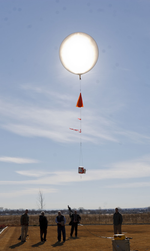 Trent Nelson  |  The Salt Lake Tribune Russ Schnell, a deputy director with the NOAA, demonstrated a balloon used to check air quality as government agencies and and industry announced a Uintah Basin Winter Ozone near Vernal in February.