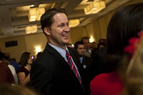 CHRIS DETRICK |  Tribune file photo  Morgan Philpot, pictured on Election Night 2010, when he narrowly lost to Rep. Jim Matheson, the state's only Democrat in Congress. He now will run for governor.