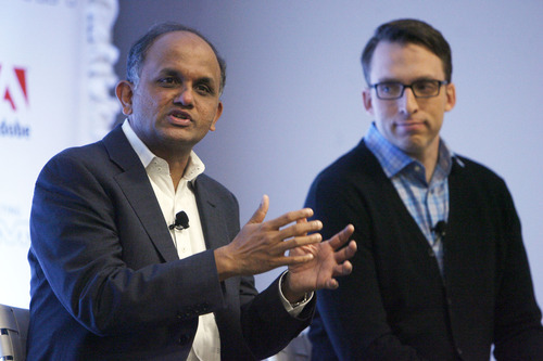 Francisco Kjolseth  |  The Salt Lake Tribune Adobe Systems CEO and President Shantanu Narayen, left, answers questions from the press alongside Brad Rencher, senior vice president and general manager of Digital Marketing Business, during the first day of Adobe's conference on Wednesday in Salt Lake City. Adobe is holding one of the world's largest digital marketing conferences in the world as 4,000 people descend on the Calvin L. Rampton Salt Palace Convention Center.