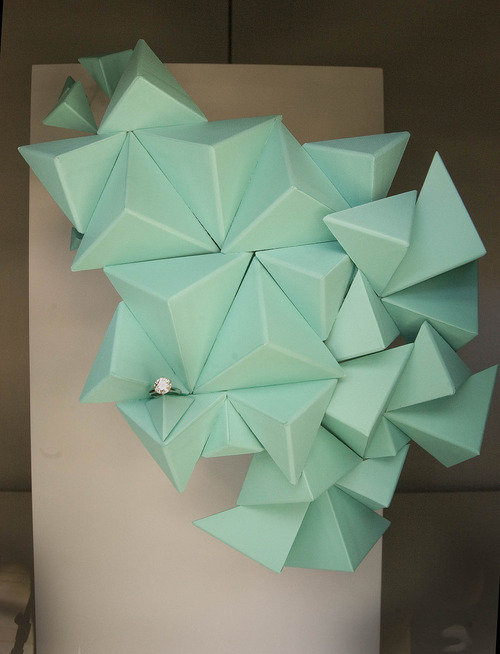 Paul Fraughton | The Salt Lake Tribune A sculpture made from Tiffany boxes and a single diamond ring in a window at the new Tiffany store opening in City Creek Center downtown.