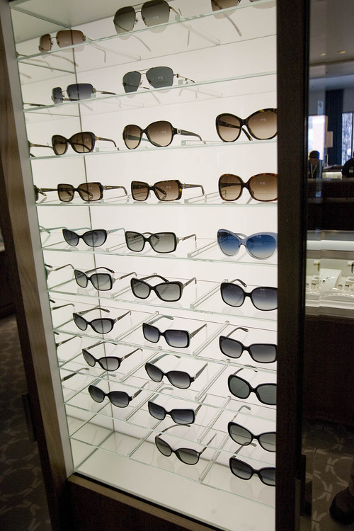 Paul Fraughton | The Salt Lake Tribune A sunglass display at the new Tiffany store opening in City Creek Center.