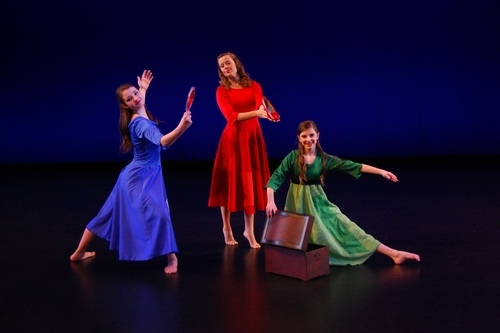 Courtesy Mary Anne Stewart Lauren Jensen as Miranda, left, Soleil Cook as Suzanna and Annie Campbell as Serenity in Children Dance Theatre's