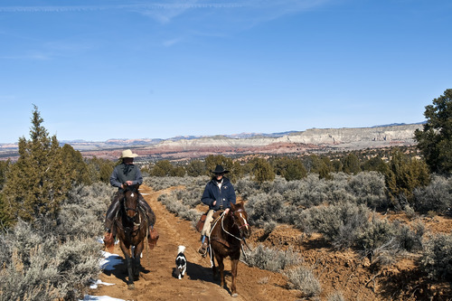 Chris Detrick     The Salt Lake Tribune Cowboy Norm Neilson, from Tropic, left, and cowboy Hoot Hatch, of Panguitch, ride to Rock Springs Point along the west edge of the Grand Staircase-Escalante National Monument Saturday on Saturday, Feb. 18, 2012.