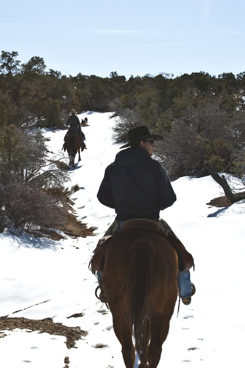 Chris Detrick     The Salt Lake Tribune Cowboy Norm Neilson, from Tropic, front, and cowboy Hoot Hatch, of Panguitch, ride to Rock Springs Point along the west edge of the Grand Staircase-Escalante National Monument on Saturday, Feb. 18, 2012.