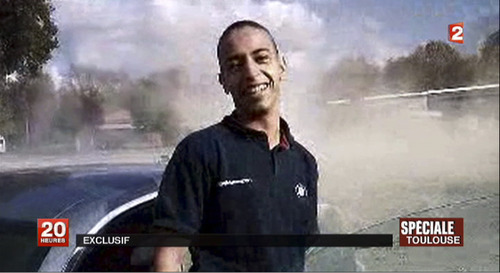 This undated and unlocated frame grab provided Wednesday, March 21, 2012, by French TV station France 2 shows Mohammad Merah, the suspect in the killing of 3 paratroopers, 3 children and a rabbi in recent days in France. French police were preparing to storm an apartment building in Toulouse on Wednesday to arrest a holed-up gunman who is suspected in seven killings and claiming allegiance to al-Qaida, a top police official said.(AP Photo/France 2)