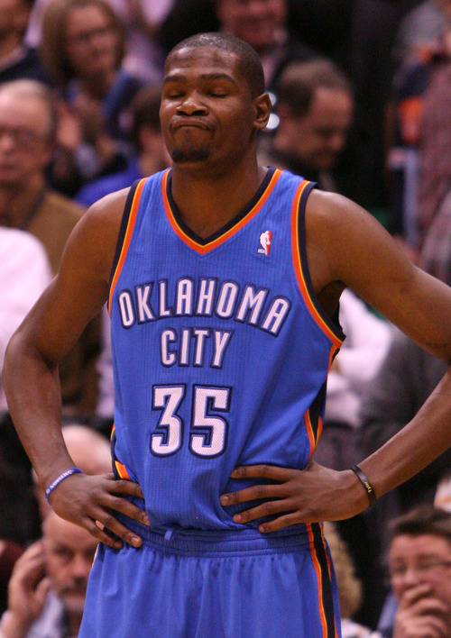 Leah Hogsten  |  The Salt Lake Tribune The Thunder's Kevin Durant reacts during the final moments.   Utah Jazz defeated Oklahoma City Thunder 97-90 Tuesday, March 20, 2012, at the Energy Solutions Arena in Salt Lake City, Utah .