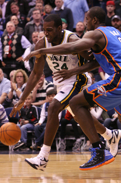 Leah Hogsten  |  The Salt Lake Tribune The Jazz's Paul Millsap had 20 points for the game. Utah Jazz defeated Oklahoma City Thunder 97-90 Tuesday, March 20, 2012, at the Energy Solutions Arena in Salt Lake City, Utah .