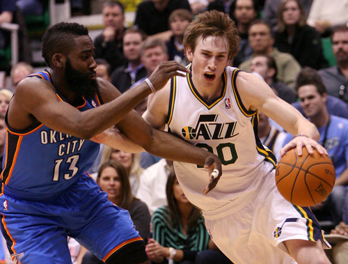 Leah Hogsten  |  The Salt Lake Tribune The Jazz's Gordon Hayward had 11 points for the game. Utah Jazz defeated Oklahoma City Thunder 97-90 Tuesday, March 20, 2012, at the Energy Solutions Arena in Salt Lake City, Utah .