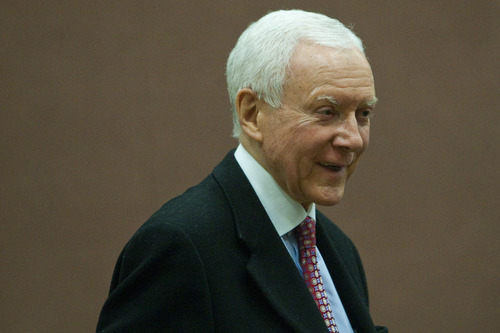 Chris Detrick  |  Tribune file photo U.S. Sen. Orrin Hatch attended the Republican caucus at Washington Elementary School last week. From all accounts, it appears the six-term incumbent did well with delegates and outside groups played a  role with massive spending.