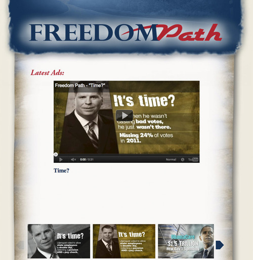 Courtesy image This ad is one bought by Freedom Path, one of several outside groups supporting Sen. Orrin Hatch against challenges by nine GOP rivals, including former state Sen. Dan Liljenquist. Some $1.5 million was spent by outside groups, including $571,000 by Freedom Path. The single biggest spending PAC was FreedomWorks, which campaigned against Hatch.