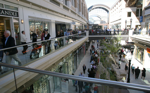 Steve Griffin  |  The Salt Lake Tribune  Shoppers fill the walkways at the City Creek Center official opening in Salt Lake City on Thursday, March 22, 2012.