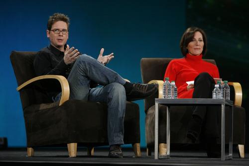 Francisco Kjolseth  |  The Salt Lake Tribune Biz Stone, a cofounder of Twitter, and Adobe Chief Marketing Officer Ann Lewnes speak on
