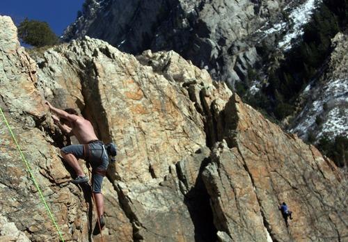Kim Raff | The Salt Lake Tribune Lance Osborne climbs the Appendage in Rock Canyon in Provo, Utah on March 22, 2012.