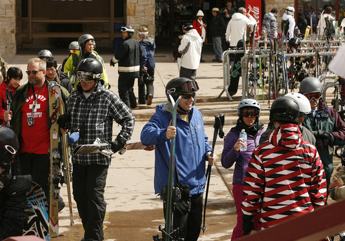 Scott Sommerdorf  |  The Salt Lake Tribune              Skiiers head off the slopes past shops and restaurants that cater to them at Park City Mountain Resort, Friday, March 16, 2012. The shadow of a legal action hangs over Park City Mountain Resort due to its legal dispute with Talisker Corporation. Unless its court action to stop expiration of the lease is successful, the resort might not open next year. That would have a huge economic impact on the entire town.
