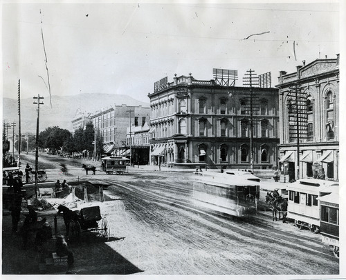 Tribune file photo  Horse drawn trolley cars are seen on Main Street in Salt Lake City in the 1860s.