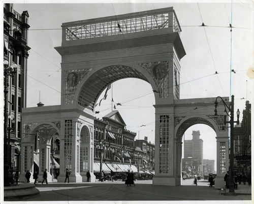 Tribune file photo  This arch at the intersection of Main Street and South Temple in Salt Lake City was used for a three-day festival that started on Sept. 11, 1916.