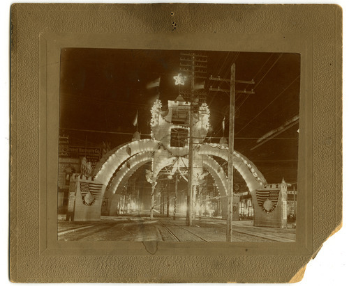 Tribune file photo  This arch at the intersection of 200 S Main in Salt Lake City was used to to honor Utah soldiers coming home from the Spanish-American War in 1898.