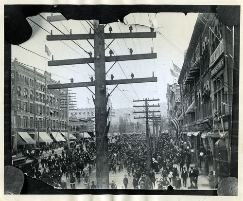 Tribune file photo  A huge parade is held for Utah soldiers returning home from the Spanish-American War in 1898.