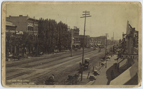 Tribune file photo  A view looking south down Main Street in Salt Lake City in about 1870.