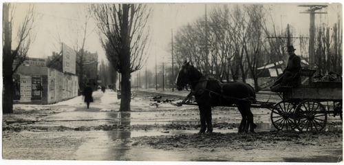 Tribune file photo  A man sits on a wagon at the corner of 400 S State in Salt Lake City in 1908.