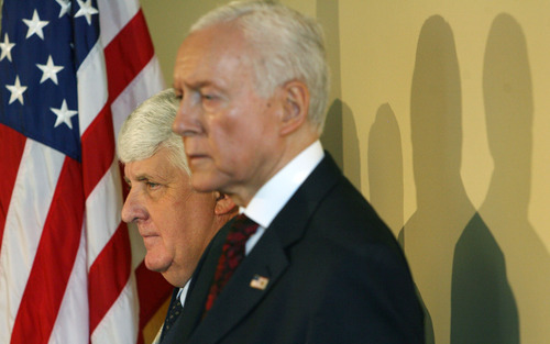 Tribune file photo Rep. Rob Bishop and Sen. Orrin Hatch joined Gov. Gary Herbert Friday in support of legislation that seeks a state takeover of huge swaths of federal public lands.