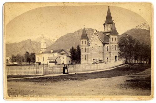 Courtesy of The Church of Jesus Christ of Latter-day Saints. A photograph taken in 1885 shows the first and second Provo Tabernacles standing side by side. BYU archaeologists are exploring the remains of the first tabernacle, which was razed in 1919. The second tabernacle, destroyed in a 2010 fire, will be restored as the city's second Mormon temple.