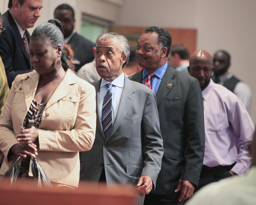 Sybrina Fulton, Rev. Al Sharpton, Rev. Jesse Jackson  and Tracy Martin, from left, leave a community forum on slain Florida teenager Trayvon Martin at the Macedonia Baptist Church in Eatonville, Fla., Monday, March 26, 2012. Students also held rallies on the campus of Florida A&M University in Tallahassee and outside the Seminole County Criminal Justice Center, where prosecutors are reviewing the case to determine if charges should be filed.  (AP Photo/Julie Fletcher)