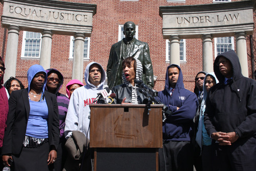 Maryland state Sen. Catherine Pugh, who chairs the Legislative Black Caucus of Maryland, discusses the dangers of racial profiling in the aftermath of the shooting death of Trayvon Martin in Florida, on Monday, March 26, 2012, in Annapolis, Md.  Pugh, speaking from the podium, stood with other members of the caucus in front of a statue of Thurgood Marshall Martin wearing a