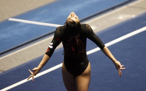 Kim Raff | The Salt Lake Tribune University of Utah gymnast Nansy Damianova performs her floor routine during the Pac 12 Gymnastics Championship at the Huntsman Center in Salt Lake City, Utah on March 24, 2012.